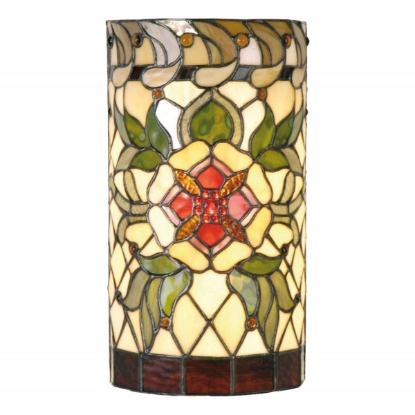 Clayre & Eef Tiffany wandlamp cilinder compleet Red flower serie