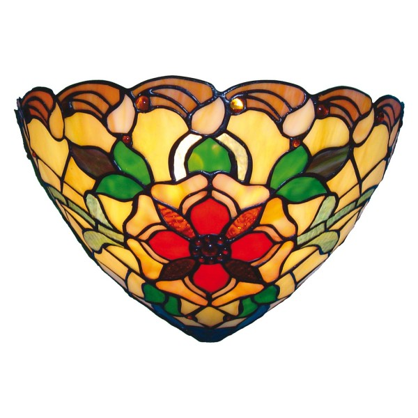 Clayre & Eef Tiffany wandlamp compleet Red flower serie
